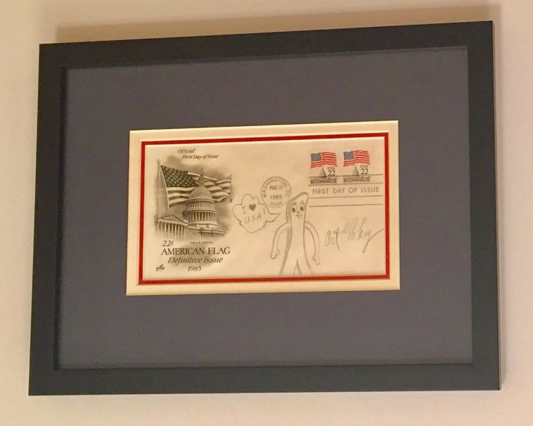 Original Signed Drawing, in pencil honoring the American Flag, , on First Day Cover 1985. ART CLOKEY.