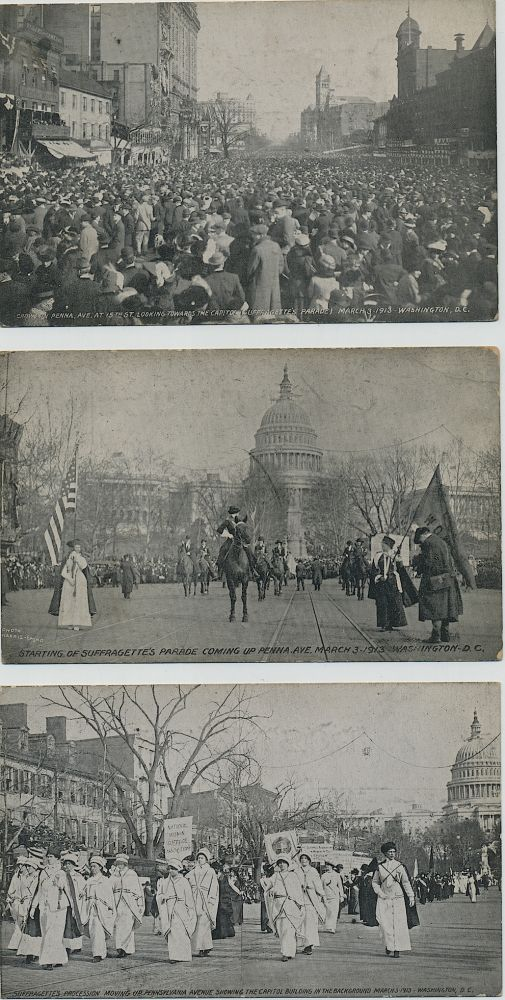 Five Post Cards of the March 3, 1913 Woman's Suffrage March on Washington. Woman's Suffrage Post Card Collection.