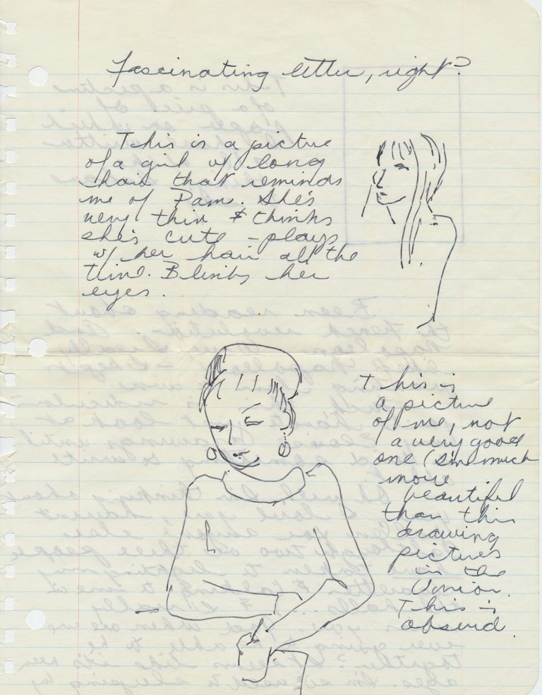 "Outstanding Autograph Letter Signed, illustrated with 5 sketches one of which Joplin describes as a self portrait, 6 pages on three sheets of notebook paper pulled from a spiral notebook, October 20, 1965, ""Wed. A. M."" With transmittal envelope in her hand. JANIS JOPLIN."