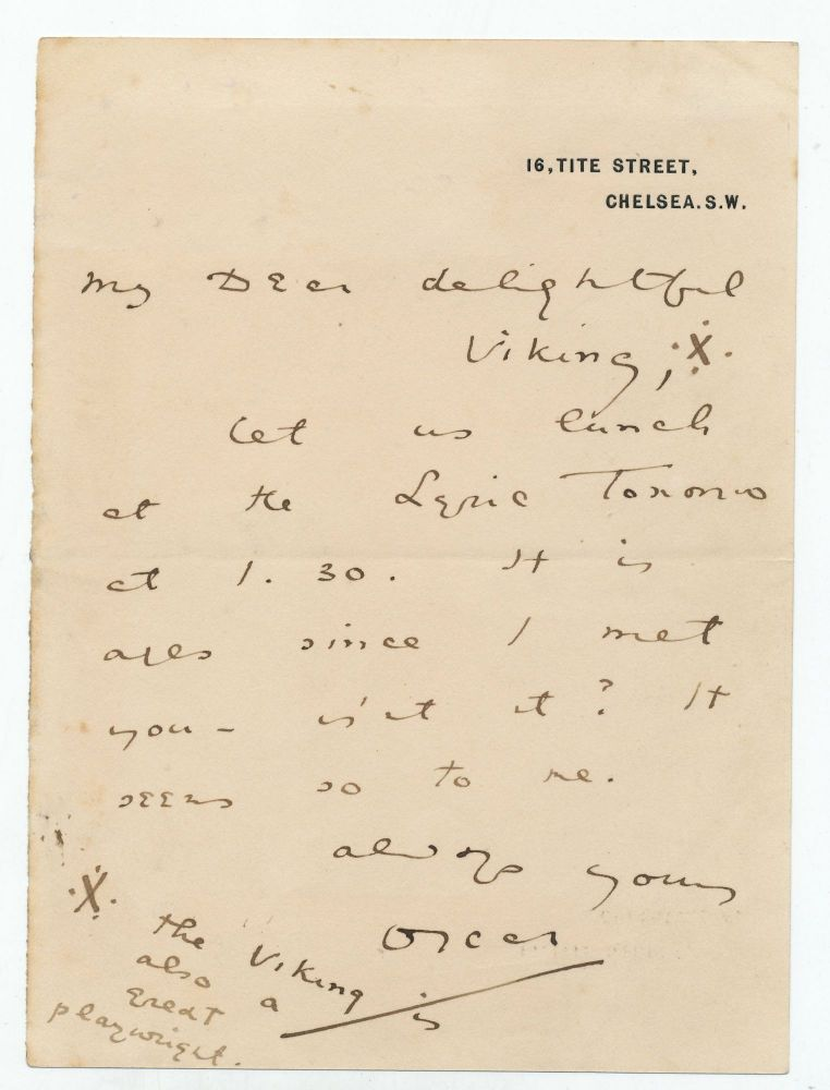Autograph Letter Signed with two illustrations, on printed address stationery, 8vo, 16, Tite Street, Chelsea, S. W.,n.d. but between 1885-95. OSCAR WILDE.