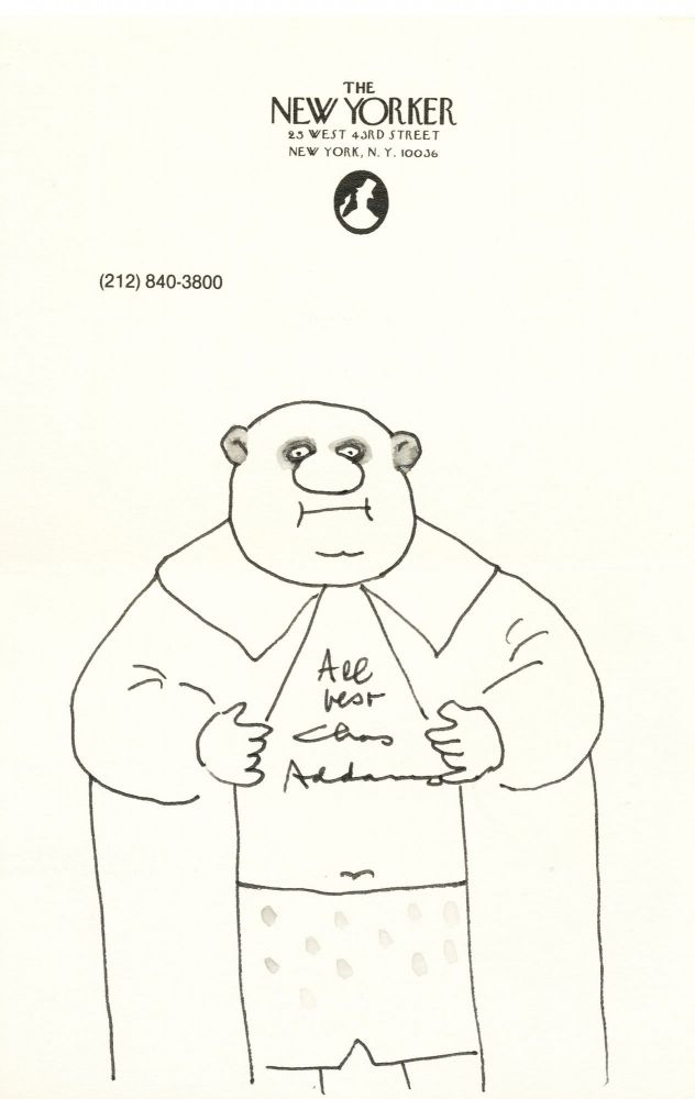 """Original Cartoon Drawing Signed, ink and wash, on """"The New Yorker"""" stationery, 8vo, New York, n.d. CHARLES ADDAMS."""