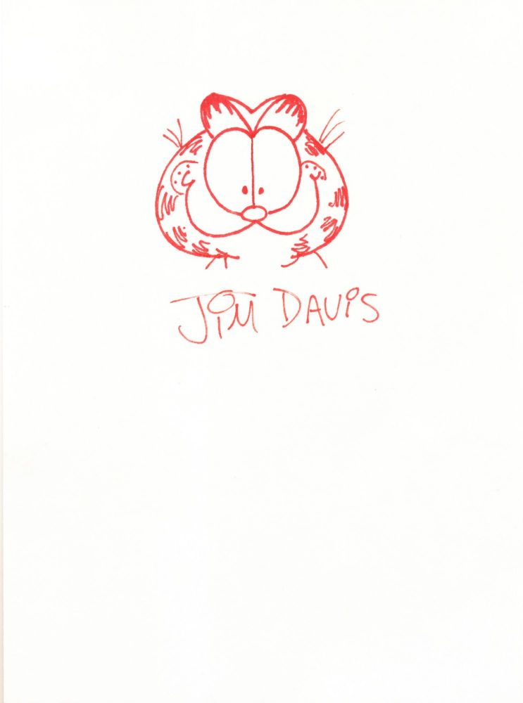 Garfield Original Signed Sketch drawn on a 5 x 8 inch card. JIM DAVIS.