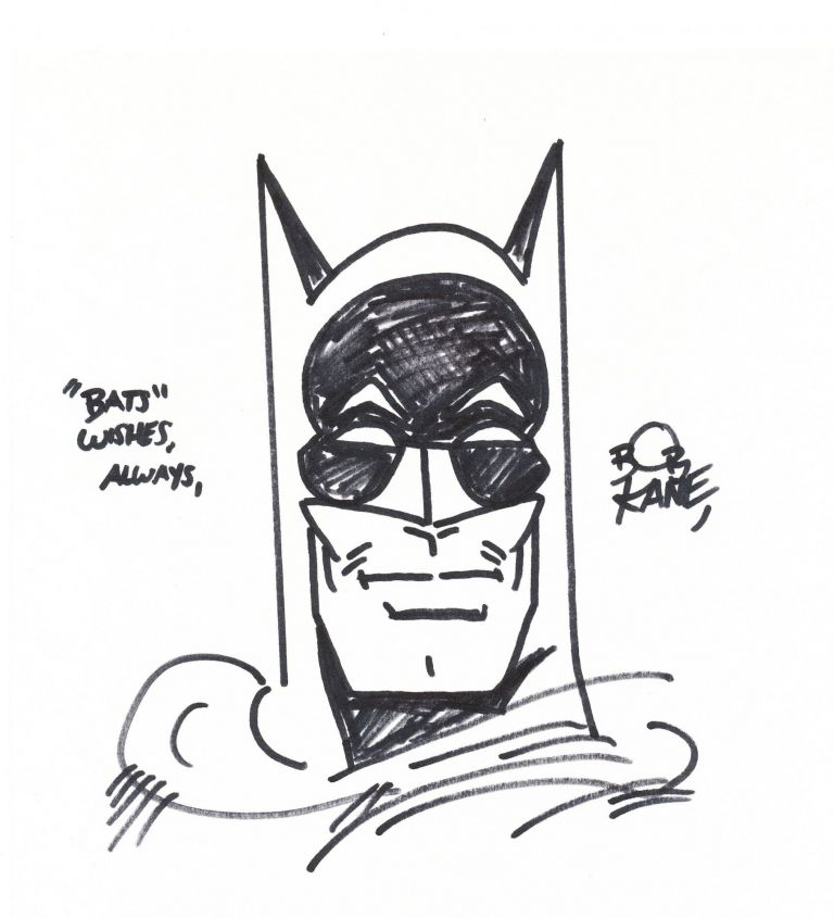 Original sketch of Batman's masked face on card stock measuring 8 x 8 3/4 inches, signed, BOB KANE.