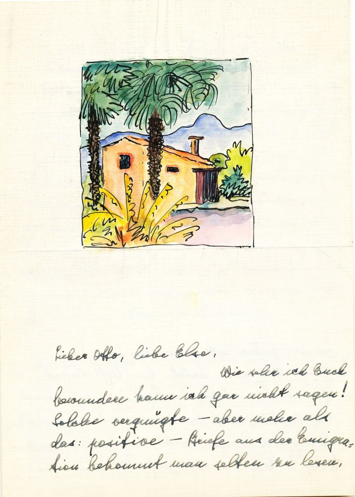 Water color on Autograph Letter of Ninon Hesse, in German, 4 pages on one 8vo sheet, n.p., March 17, 1940. HERMANN HESSE.