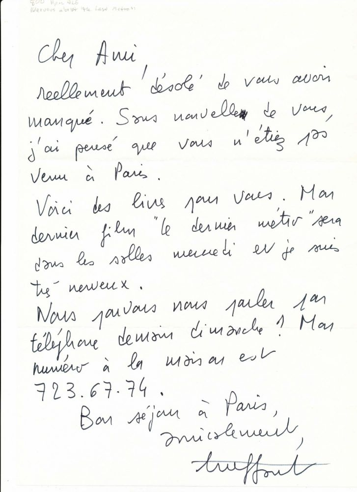 Autograph letter signed, in French, folio, n.p., n.d but 1980. FRANÇOIS TRUFFAUT.