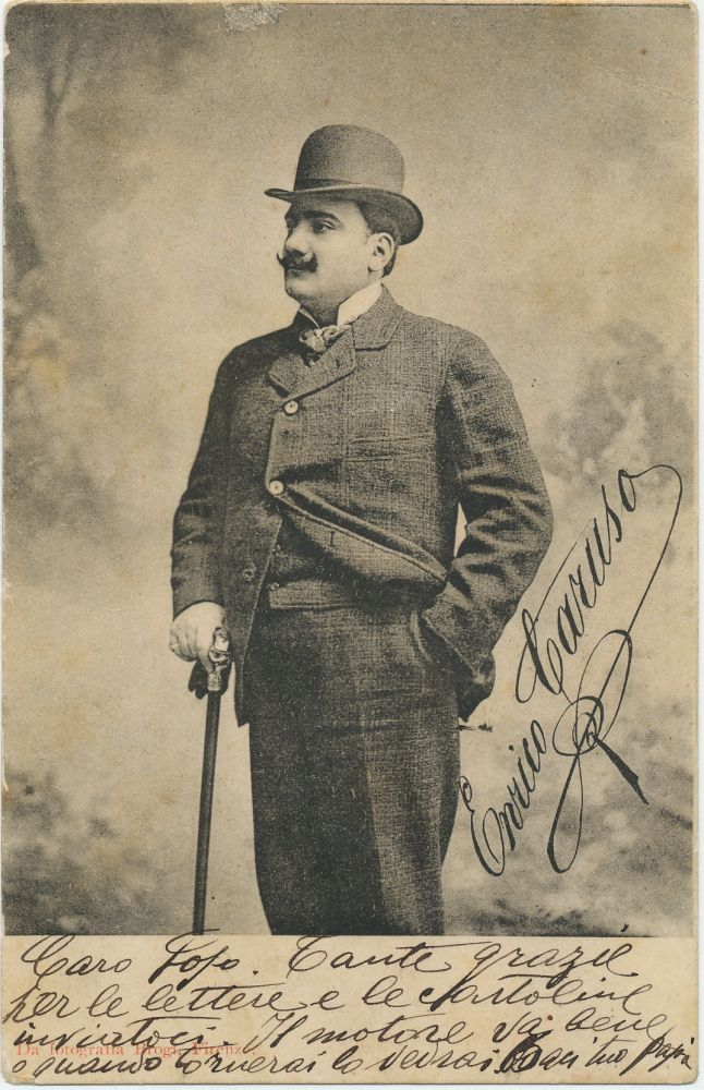 "Signed Postcard Photograph to Caruso's son, Rudolfo nicknamed ""Fofo"", n.p., n.d. ENRICO CARUSO."
