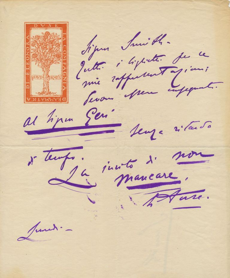 Autograph Letter Signed on the emblematic stationery of her dramatic company, in Italian, 1 page on folio bifold, n.p., Monday, n.d. ELEONORA DUSE.