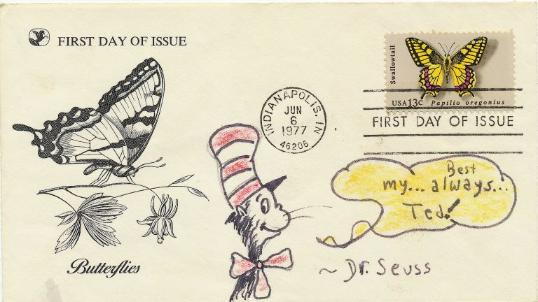 """""""Cat in the Hat"""". Excellent red and black original Drawing Signed Twice of the Cat from """"The Cat in the Hat,"""" oblong 8vo, n.p., n.d. SEUSS DR, THEODOR GEISEL."""