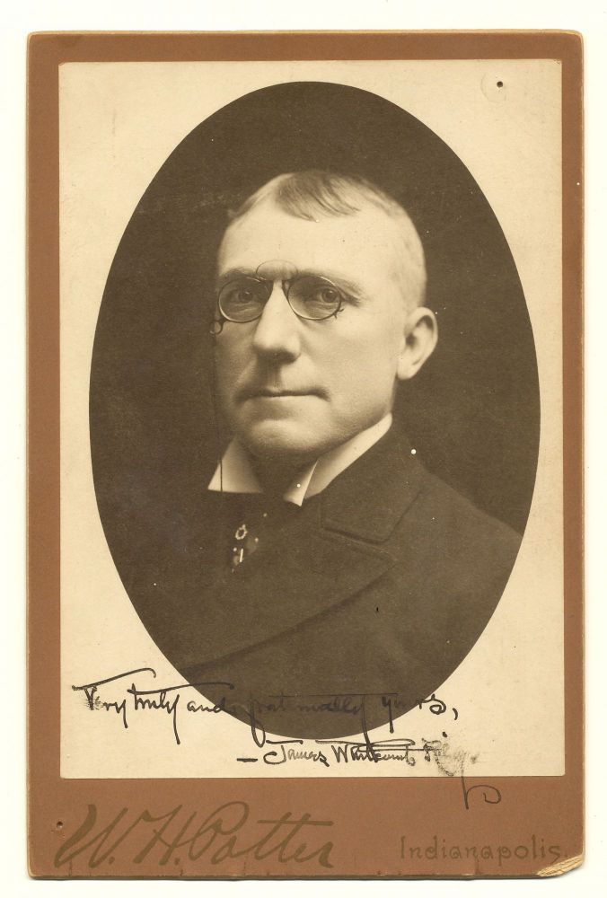 Scarce Photograph Signed, Cabinet size. JAMES WHITCOMB RILEY.