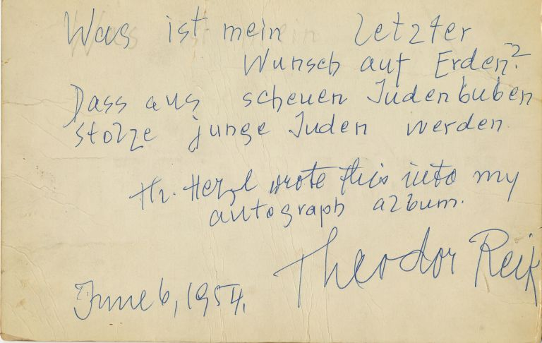 Autograph Quotation and Note Signed, in German and English, 8vo, n.p., June 6, 1954. THEODOR REIK.