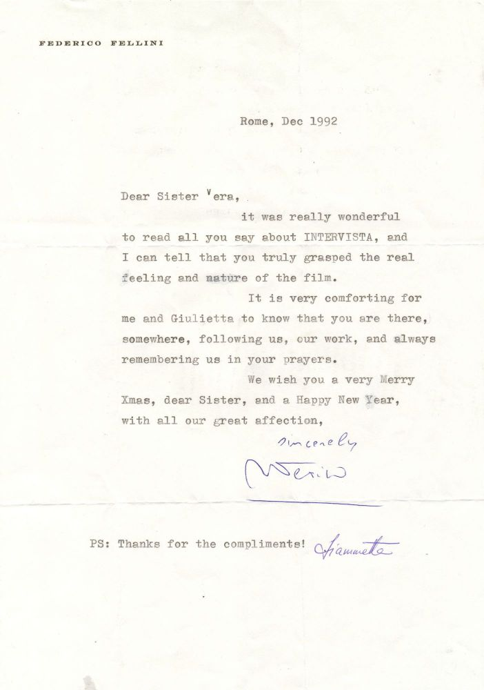 Typed Letter Signed on personalized printed stationery, slight 4to, Rome, Dec. 1992. FEDERICO FELLINI.