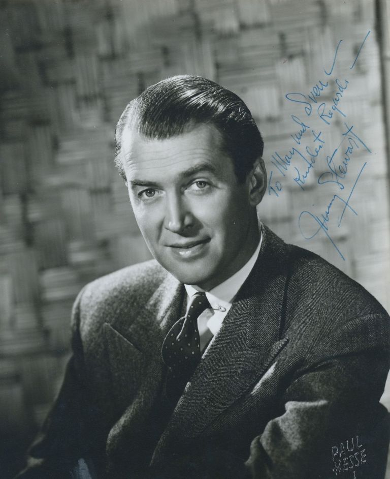 Photograph Signed, studio photograph by Hollywood photographer Paul Hesse , 7.5 x 9.5 inches, mat finish, inscribed and signed, undated. Hesse's raised stamp shows in the lower right corner. The photograph appears to have been trimmed. JAMES STEWART.