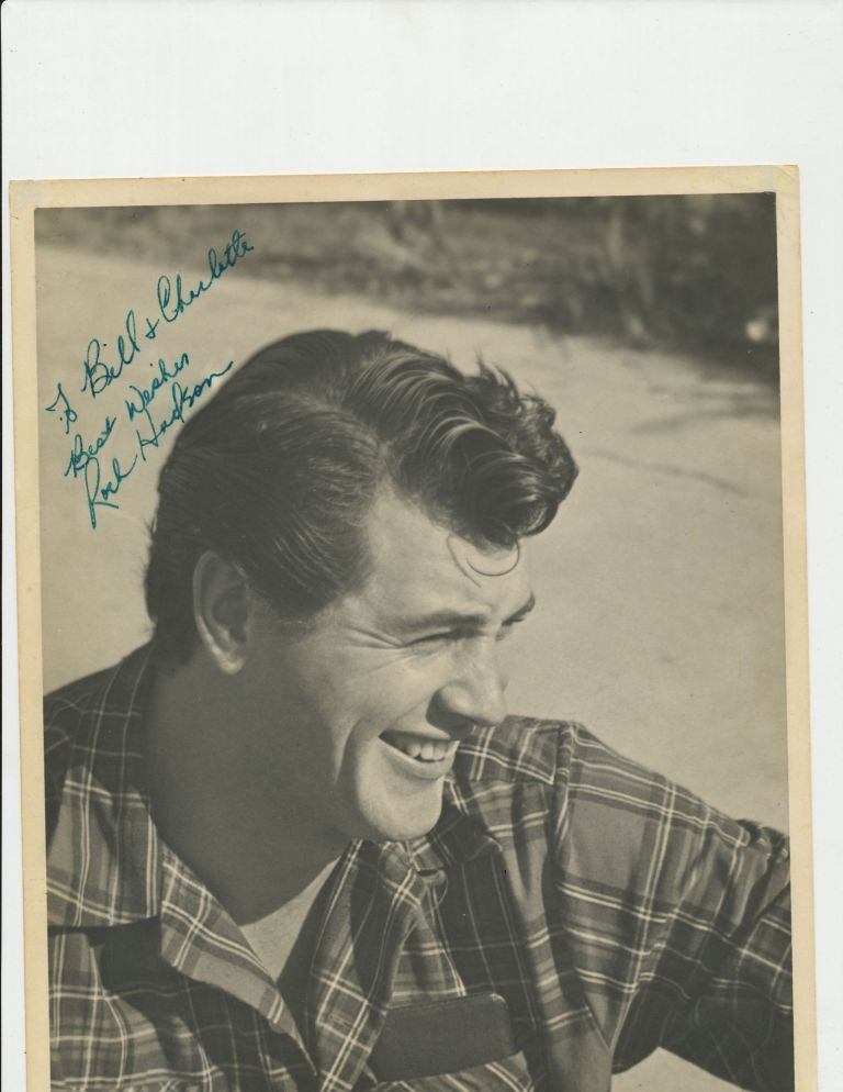 Photograph Signed, gray tones, matte finish, 8 X 10, signed with green ink. ROCK HUDSON.