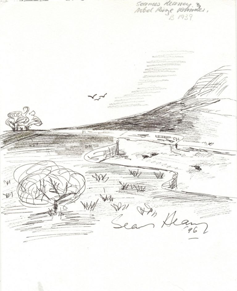 Original pen and ink drawing signed and dated, measuring 8.25 by 11 inches, on card stock weight artist's paper, SEAMUS HEANEY.