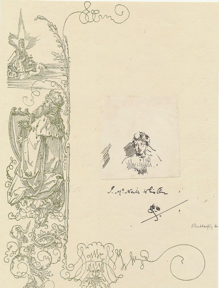 Whistler Sketch Signed, 12 mo, attached to folio size decorative page and signed with butterfly after his name on the larger page. possible bust length self portrait, JAMES ABBOTT McNEILL WHISTLER.