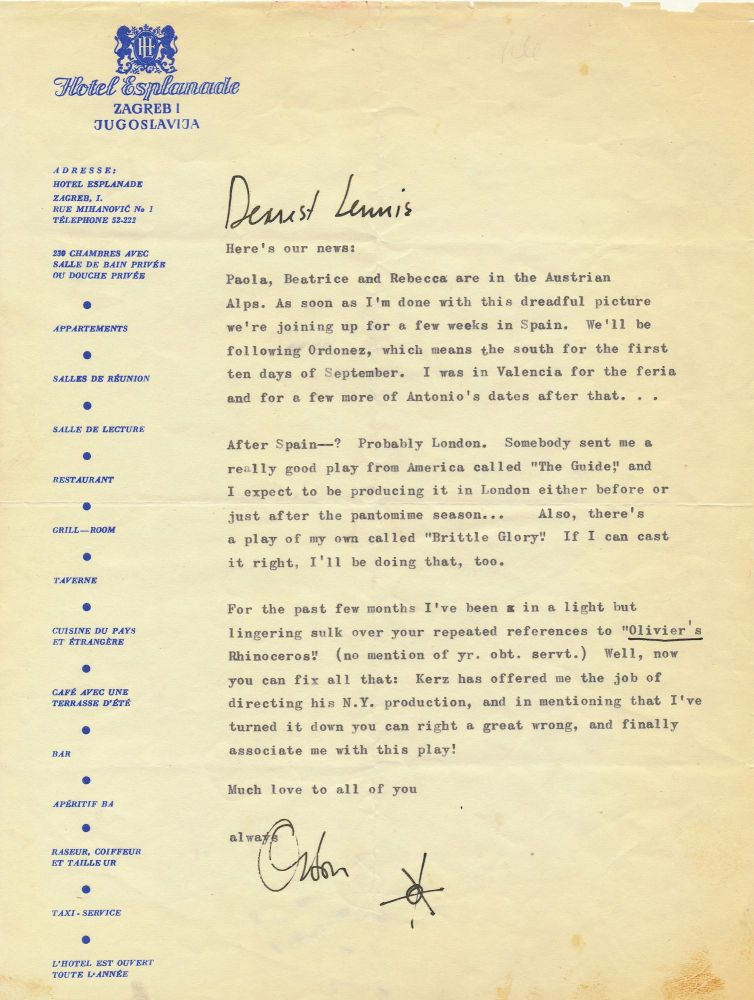 Welles plans to produce two unknown plays but feels overlooked by reviews  of Ionesco's Rhinoceros  Typed Letter Signed, with a doodle, 4to, on Hotel