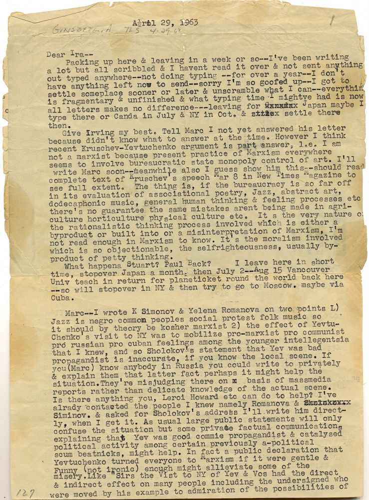 """Ginsberg tries to get help for Russian poet Yevgeny Yevtushenko in this letter to fellow Beat poet Ira Cohen. and proclaims, """"I am not a Marxist"""" in his typed letter to friend and fellow Beat poet . Typed Letter Signed, 2pp on an aerogramme, Varanasi, India, April 29, 1963. ALLEN GINSBERG."""