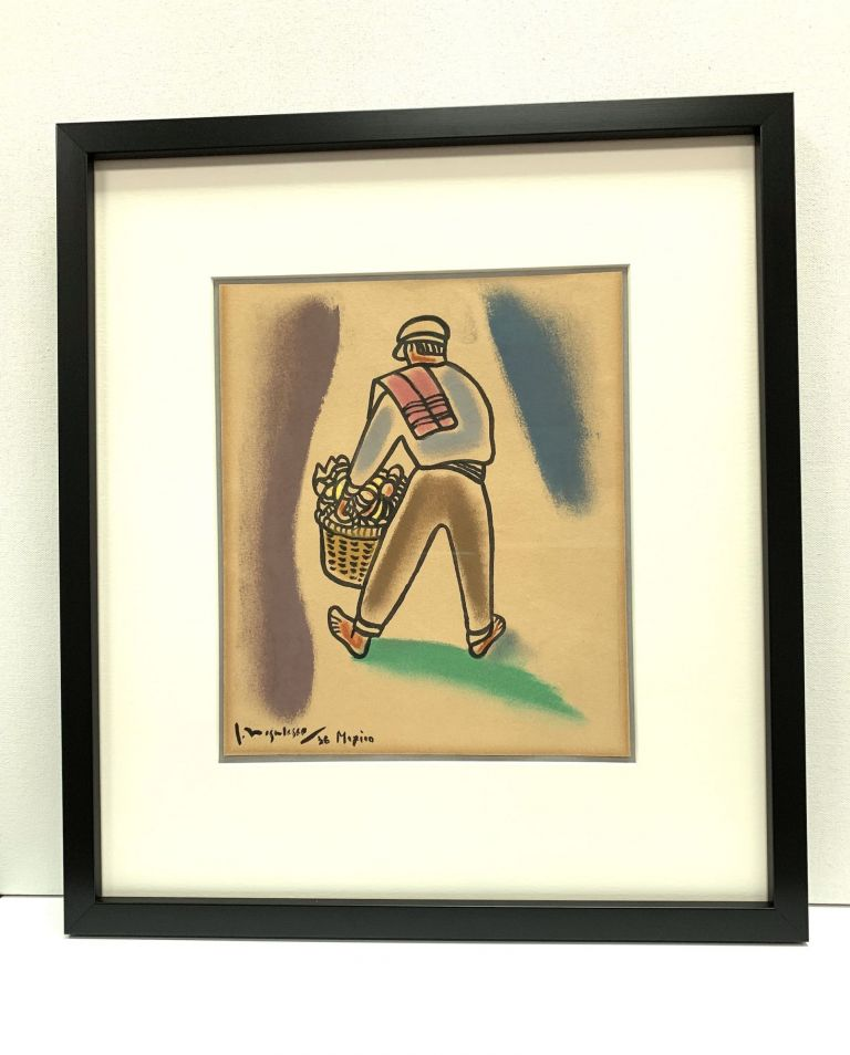 Vibrant pastel drawing outlined in India Ink, Signed, Mexico [1936]. JEAN NEGULESCO.