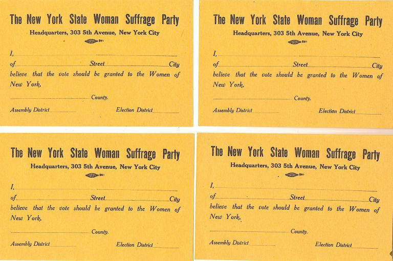 Woman's Suffrage Supporter Form. Woman's Suffrage Broadsides.