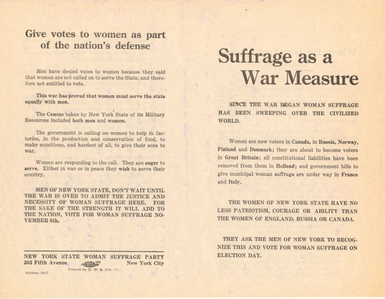 "Broadside, ""Suffrage as a War Measure"" by NY State Woman Suffrage Party, 2 pp on one 8 x 10.5 inch sheet. Women's Suffrage Broadside."