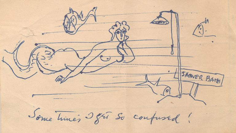 """Sometimes I Get So Confused!"" says the mermaid in Walt Kuhn's humorous sketch rendered in pen and ink on the back of an accounting pad sheet, 4 x 7 inches. Unsigned. WALT KUHN."