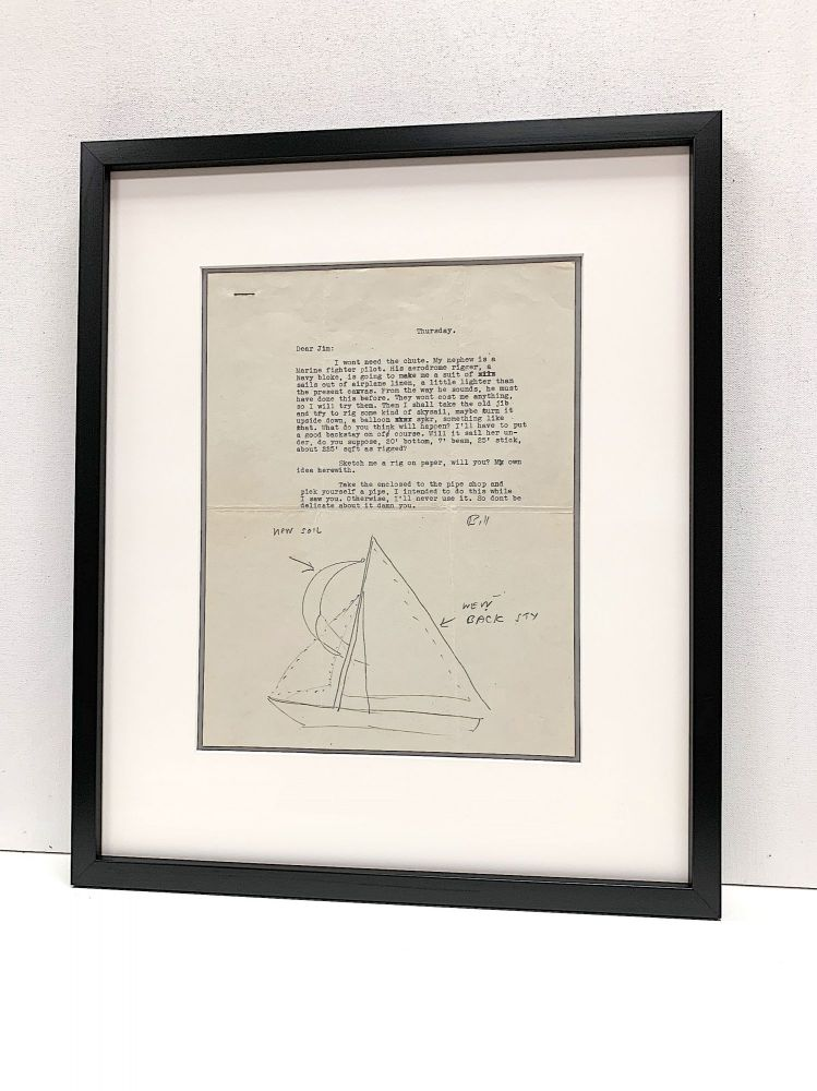 Rare and fine Pencil Sketch of a sail boat in a typed letter to Eric James Devine, likely 1948, [Oxford, Mississippi]. WILLIAM FAULKNER.