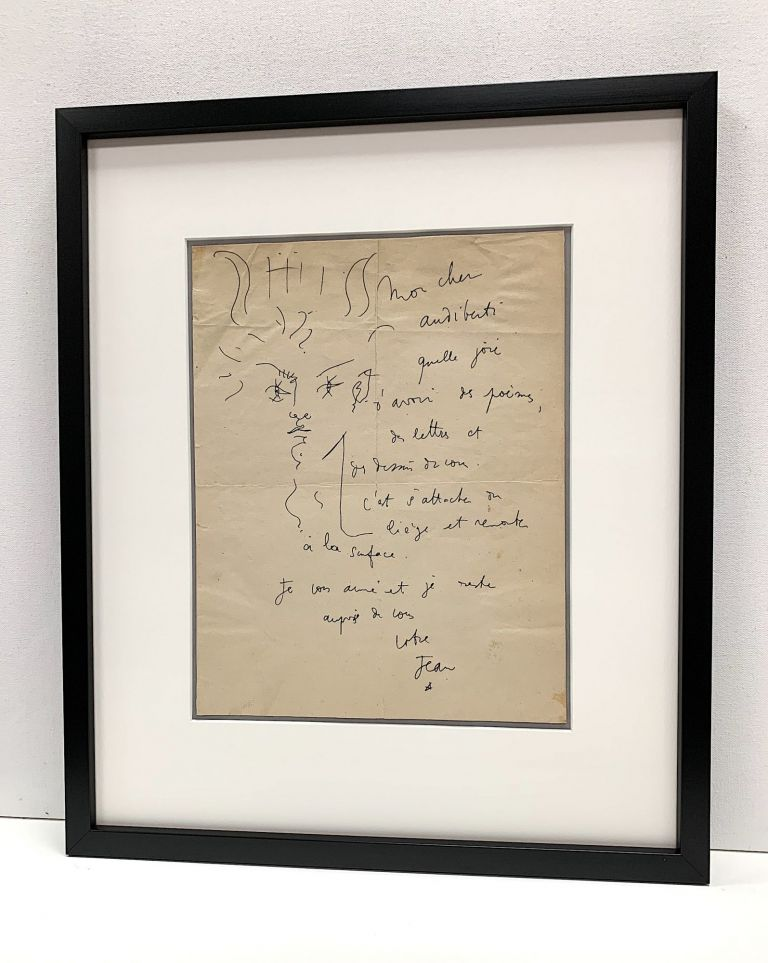 Captivating pen and ink line drawing of Orpheus with a lyre at his forehead within an Autograph Letter Signed to French playwright Jacques Audiberti (1899 -1965). JEAN COCTEAU.