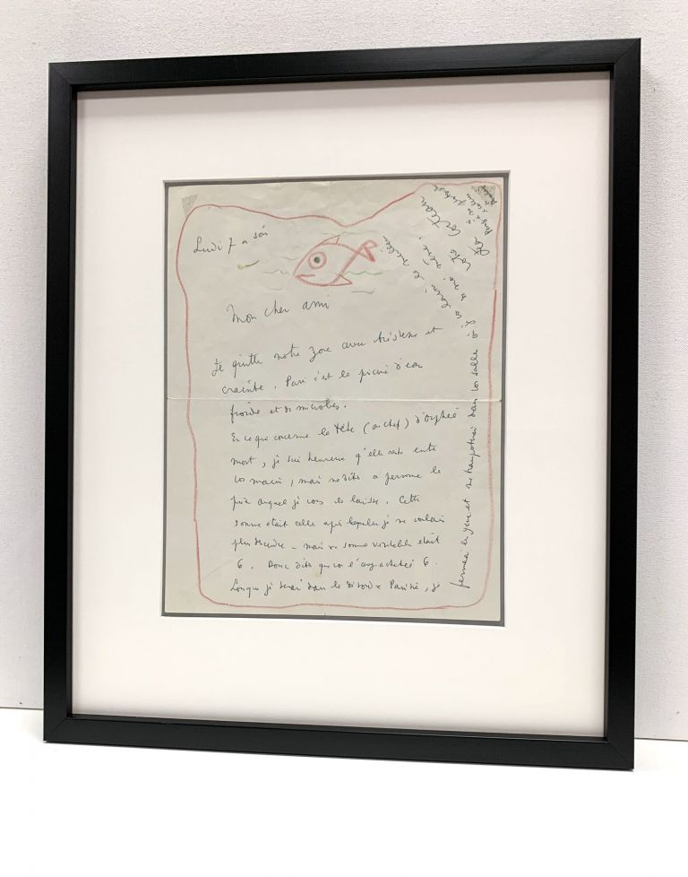 "Intriguing drawing signed of a fish swimming within the red border of a letter. Cocteau writes about the price of a drawing ""concerning the head of dead Orpheus."" and alludes to his photographs of Arthur Rimbaud. JEAN COCTEAU."