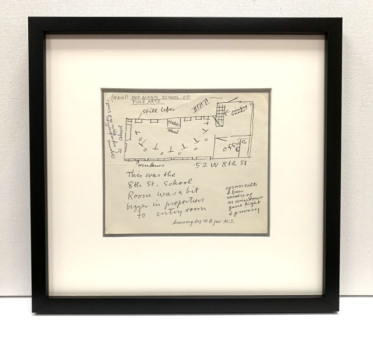 "Original drawing with notation by Blaine rendered in pen and ink on verso of a blank page of her stationery, signed with initials, ""NB."" . She sketches the layout of the school where she studied art in New York, the ""(Hans) Hofmann School of Fine Arts."" NELL BLAINE."
