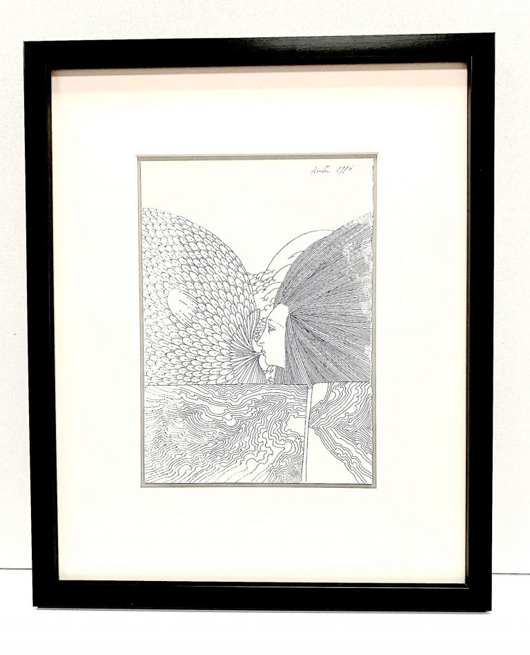 Original drawing signed and dated, 1996, rendered in pen and ink on white artists' board, measures 6.1 x 8.8 inches. WOLFGANG HUTTER.
