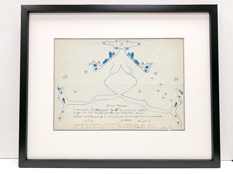 Rare and fine sketch in blue pen and ink under which she wrote an Autograph Letter Signed, 4to, n.p., May 2,1967. MÉRET OPPENHEIM.