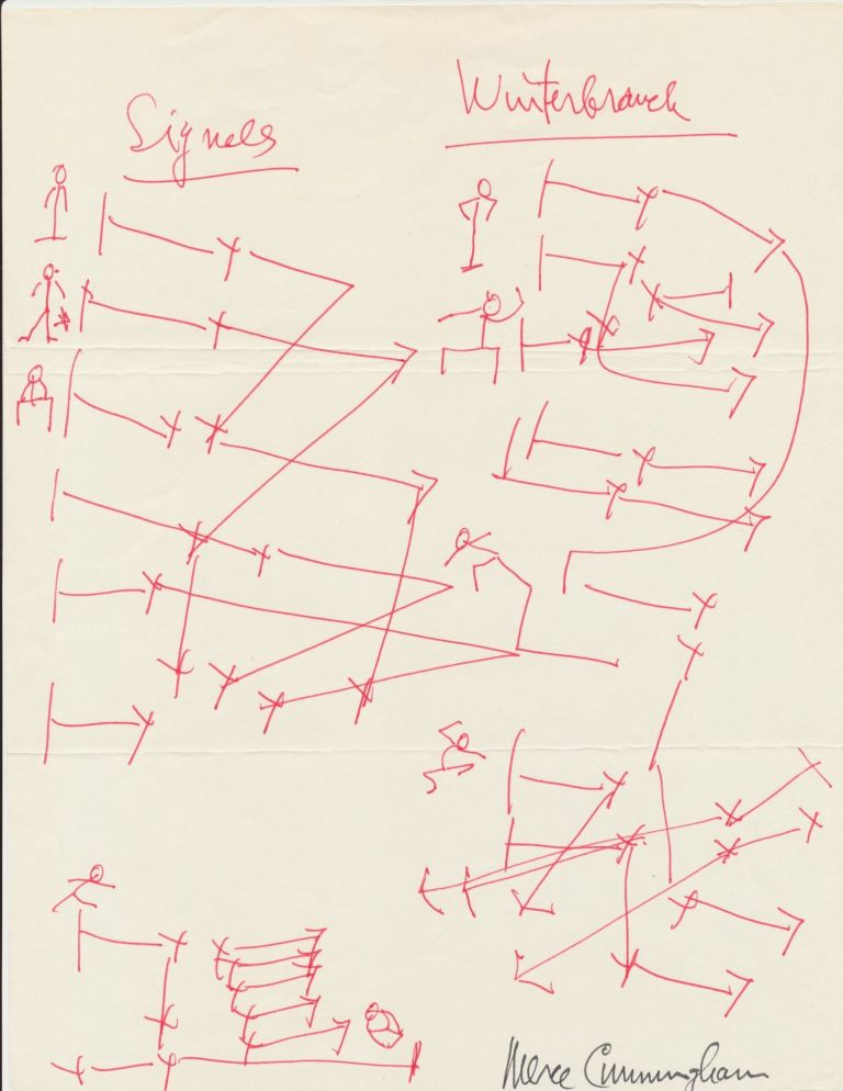 """A prolific sketcher, Cunningham draws dance layouts for two of his dances, """"Signals"""" and """"Winterbranch"""" in red pen, signed in full in black ink, possibly at a later date. """"Winterbranch"""" debuted in 1964 and """"Signals"""" in 1970. MERCE CUNNINGHAM."""