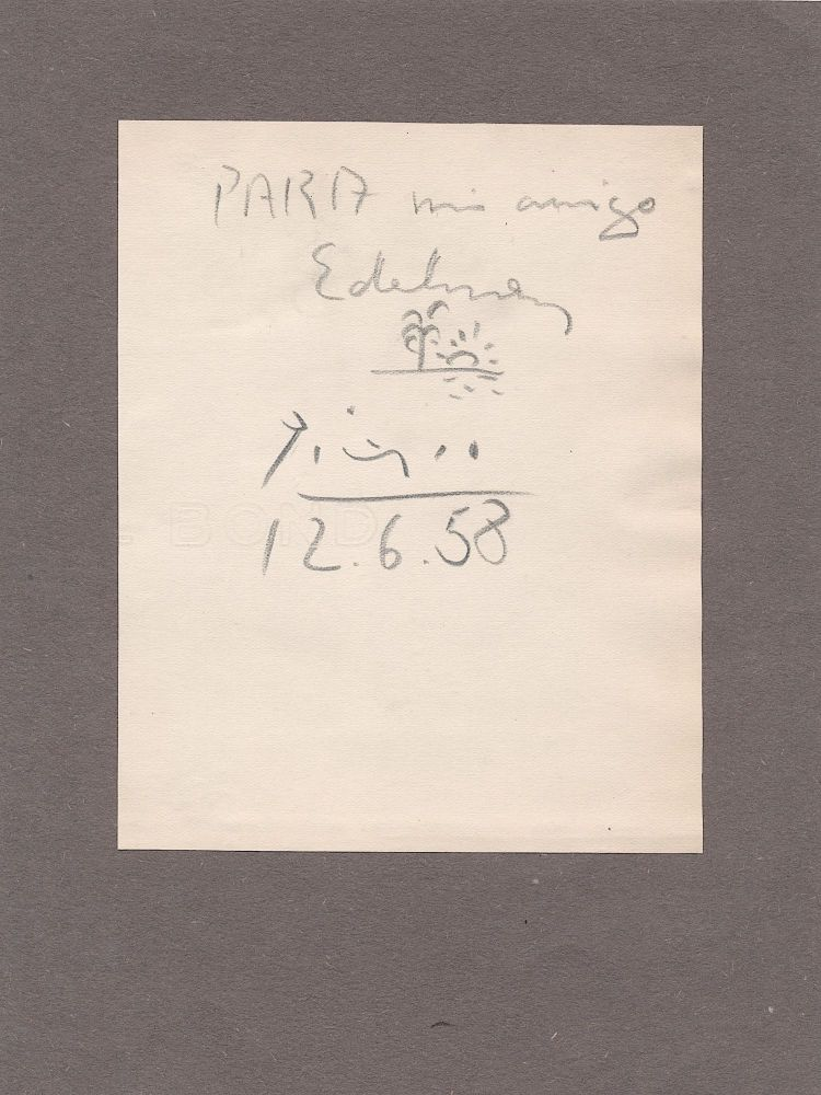 Fine and unusual pencil sketch on paper mounted to a brown paper card, inscribed in Spanish, signed and dated, Dec. 12, 1958. PABLO PICASSO.