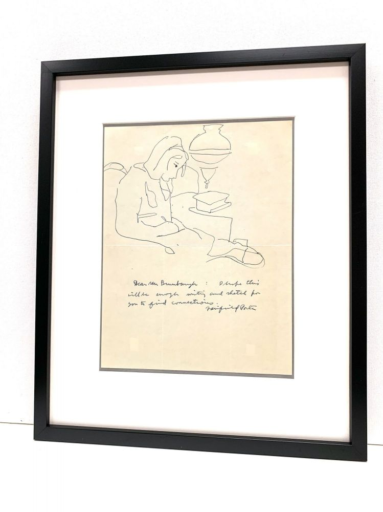 Line drawing rendered in pen and ink above a brief Autograph Letter Signed, April 10, 1964 docketed on verso. FAIRFIELD PORTER.
