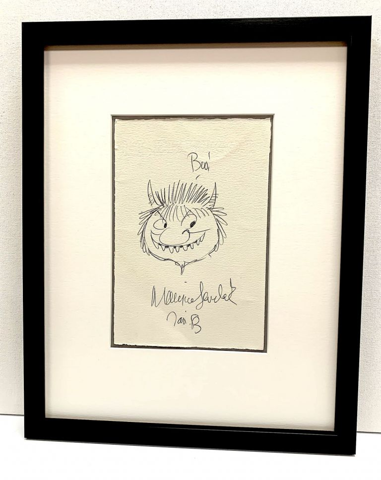 """Where the Wild Things Are."" Original pen and ink sketch of a Wild Thing signed in full dated ""Jan '8.3"" MAURICE SENDAK."