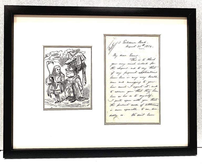 """Rare original pen and ink drawing, """"Alice (with flamingo) Chats with the Duchess."""" from Lewis Carroll's """"Alice's Adventures in Wonderland,"""" (1865) signed with initials and date , """"JT 1880."""" With Autograph Letter Signed two pages on one sheet, to the editor of """"Punch"""" magazine, Aug. 25, 1854. JOHN TENNIEL, Lewis Carroll."""