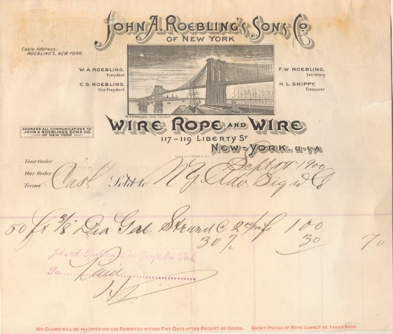 """John A. Roebling's Sons Co. Wire Rope and Wire"" Brooklyn Bridge Letterhead, Paid Purchase Invoice, Sept. 17, 1900. JOHN A. ROEBLING."