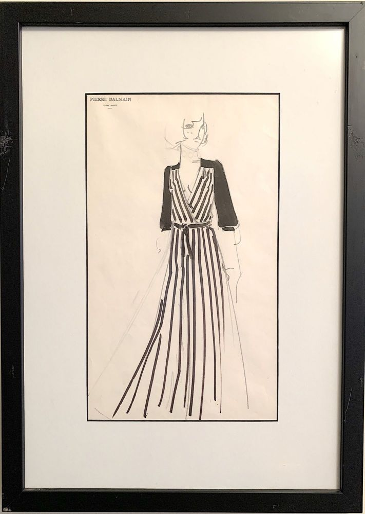 A pair of hand drawn fashion sketches on Balmain stationery, water color and ink. PIERRE BALMAIN.