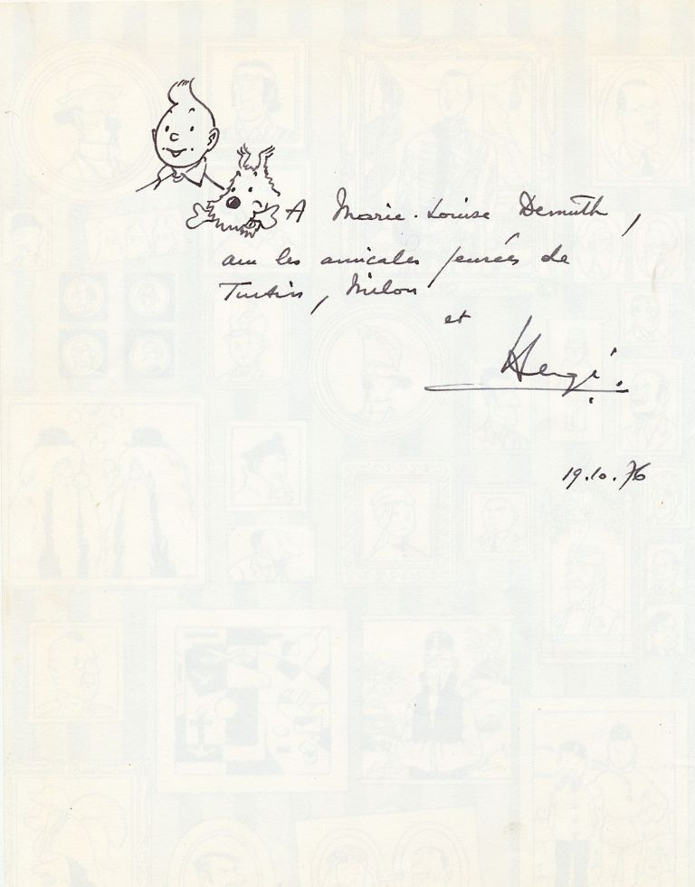 Original sketch of Tintin and Milou [Snowy], inscribed, 11 3/4 x 8 1/2 inches, Oct. 19, 1976. HERGÉ, Georges Prosper Remi.