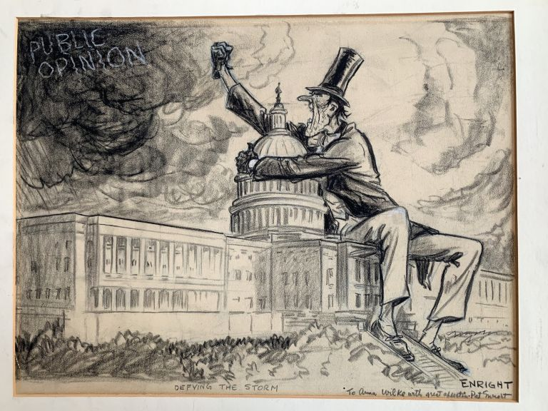 """Original political cartoon signed, """"Defying the Storm,"""" and inscribed to Anna Wilke of the Wilke Pipe family, undated. WALTER J. ENRIGHT, a k. a. Pat Enright."""