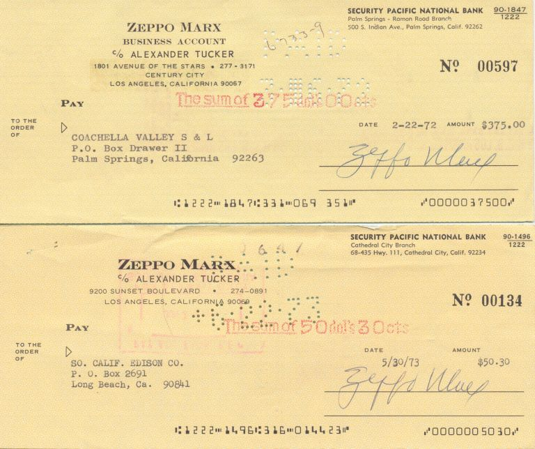 A Pair of Signed Personalized Checks, Los Angeles, CA, Feb. 22, 1972 and May 30, 1973. ZEPPO MARX, HERBERT MANFRED.