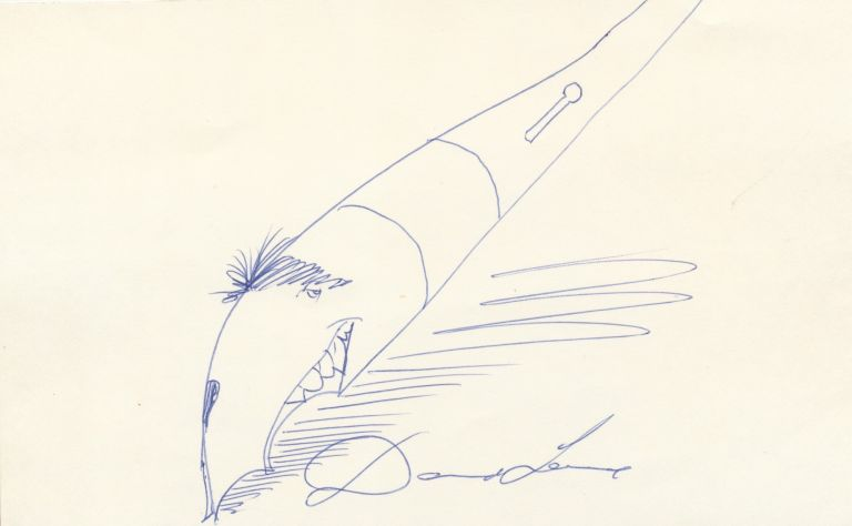 Sketch by Levine of his classic fountain pen with the artist's face forming the pen's nib, Signed. DAVID LEVINE.