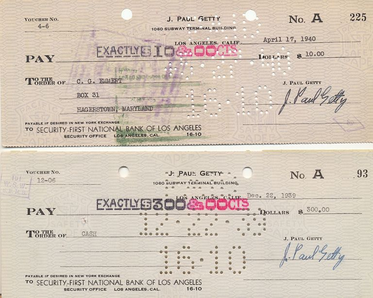 A Pair of Checks, Signed, Los Angeles, CA, Dec. 22, 1939 and April 19, 1940. J. PAUL GETTY.