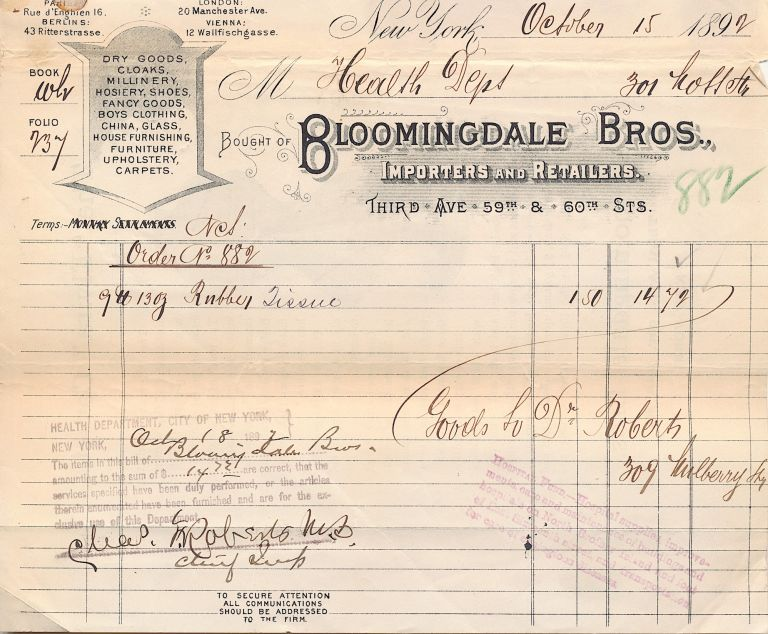 "A Pair of ""Bloomingdale Bros."" invoices to the New York City Dept. of Health for purchases of ""Rubber Tissue,"" October 15, 1892 and of ""2 Bureaus,"" August 28, 1896, each with a different design. 1890'S BLOOMINGDALE BROS."" INVOICES."