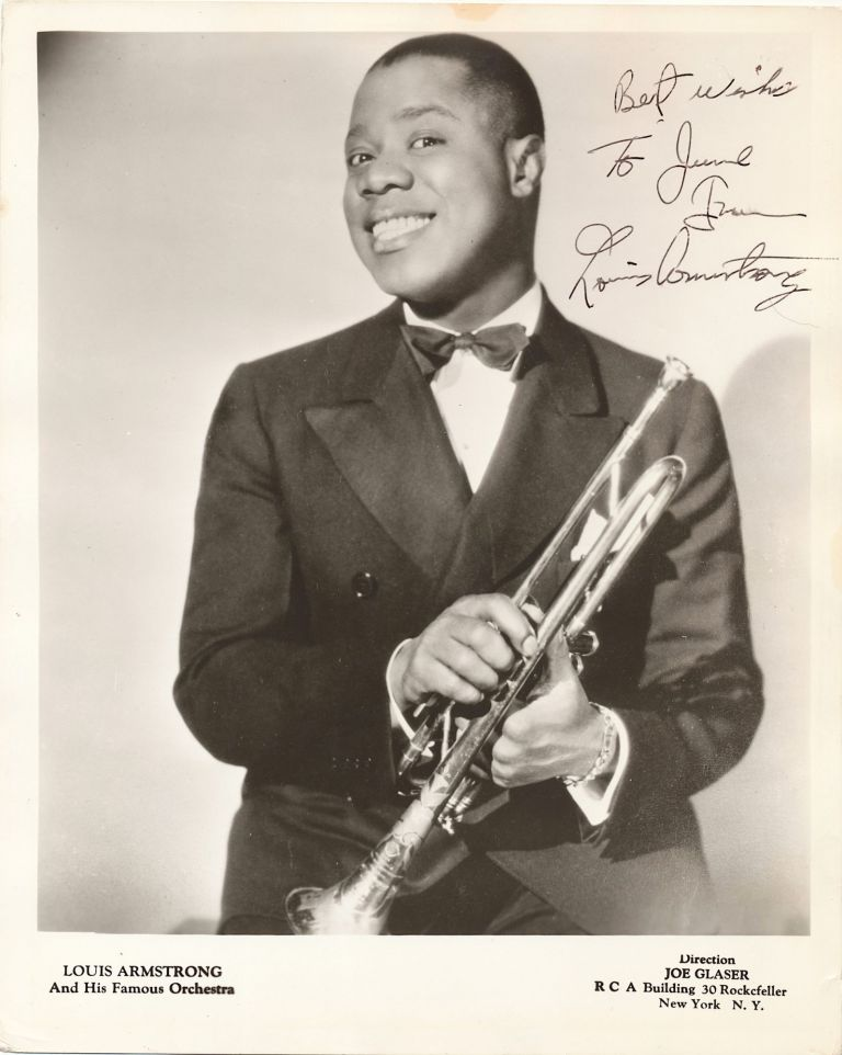 Photograph Signed, 4to, n.p., n.d. circa 1932. LOUIS ARMSTRONG.