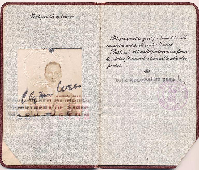 Passport with photograph, signed, 1930 date of issue. CLIFTON WEBB, Parmelee Hollenbeck Webb.