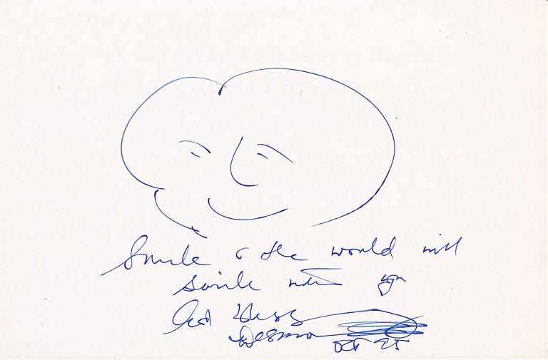 Autograph Note with Original pen and blue ink Sketch Signed expressing a positive message, 10.5 x 6.75 inches. DESMOND TUTU.