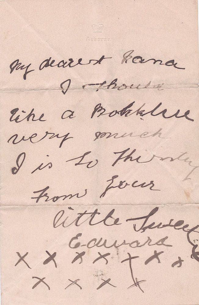 """Early Autograph Letter Signed to his nurse on """"Osborne"""" stationery, 8vo bifold, ca 1899. EDWARD VIII."""