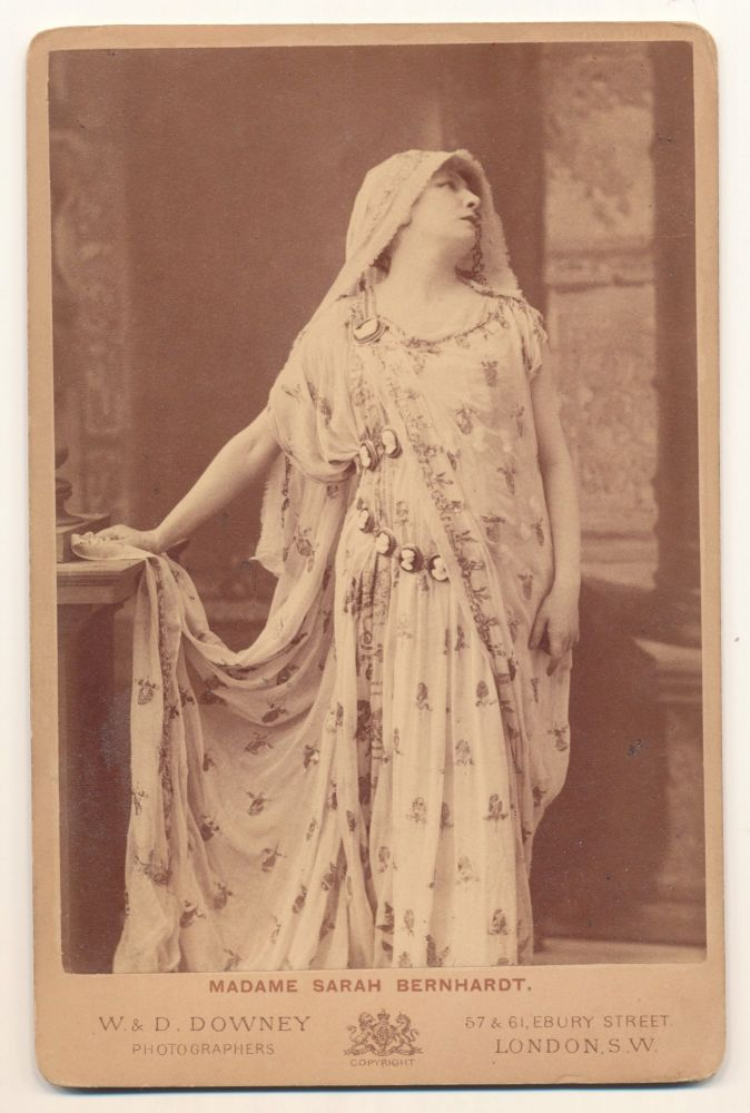 Albumen print on photographer's mount, Cabinet size, W. & D. Downey, London. Bernhardt is shown as Phèdre in Jean Racine's eponymous play, ca 1874. [see Getty Images]. SARAH BERNHARDT.
