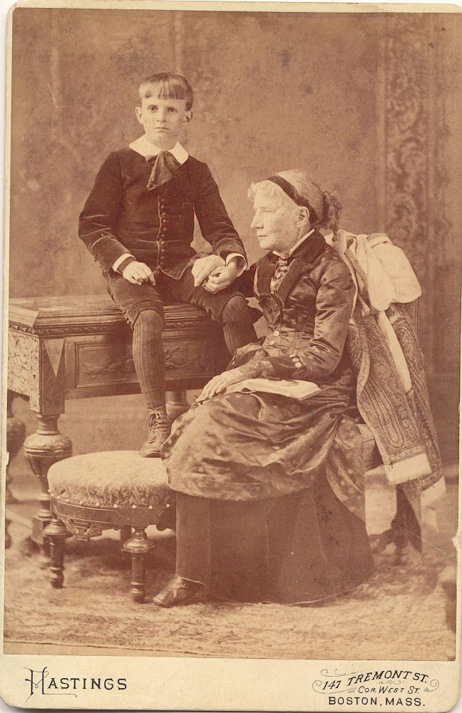 Albumen photograph on photographer's mount, Cabinet size, Hastings, Boston. Rules of reproducing the photograph stamped on verso with cropping notation in pencil. Stowe was photographed with her grandson. Condition: Overall very good condition with slight wear to corners and some soiling on verso. www.schulsonautographs.com. HARRIET BEECHER STOWE.